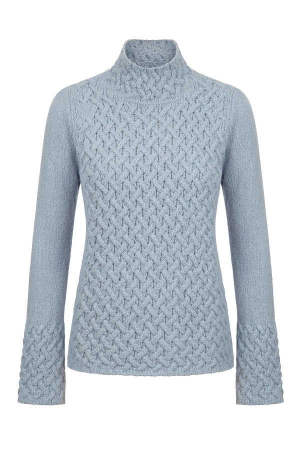 Trellis Irish Knit Sweater - Duck Egg Blue
