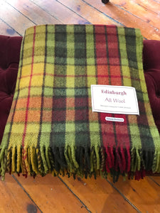 Tartan Wool Blanket in Autumn Buchanan. Woven in the UK. Buy Online at Red Scarf Equestrian Canada