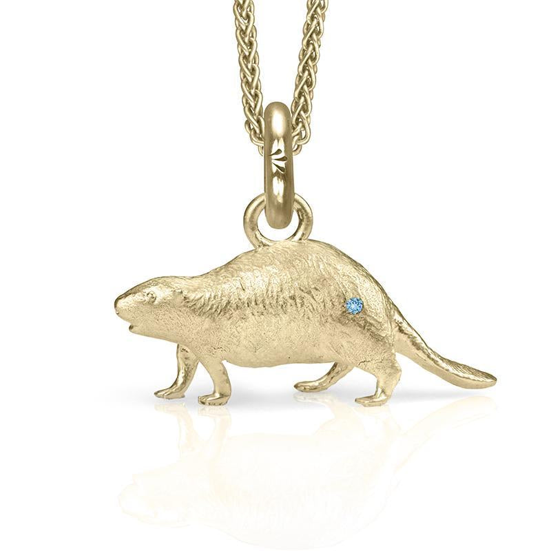 Al the Beaver Charm, Yellow Gold with Gemstone