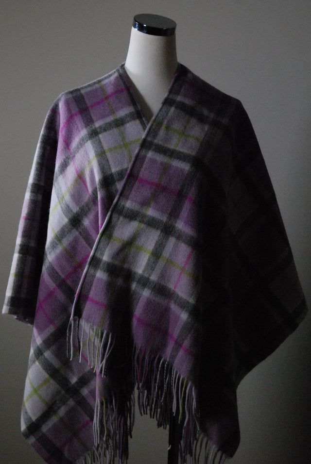 Lambswool Shawl - Lilac Check
