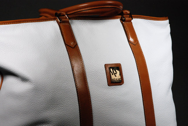 Pebbled Leather Weekender - White/Tan