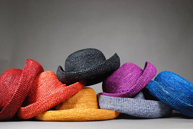 Raffia Hats: Plain Small Brim Aude Hats