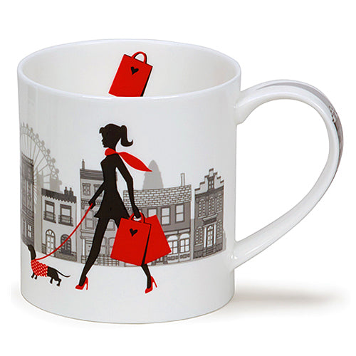 Buy Dunoon Mugs in Canada Orkney City Chic Shopping Bag Fine Bone China Made in England Tea Coffee Red Scarf Equestrian