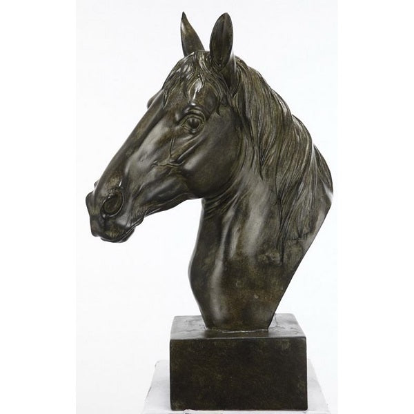 Horse Head Sculpture on Base