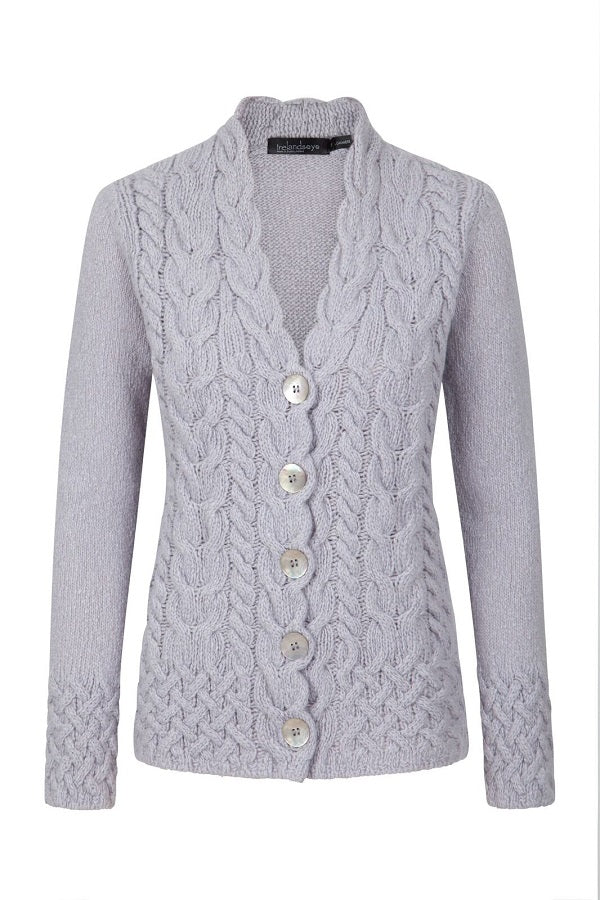 Horseshoe Cable Knit Cardigan - Skyline Grey