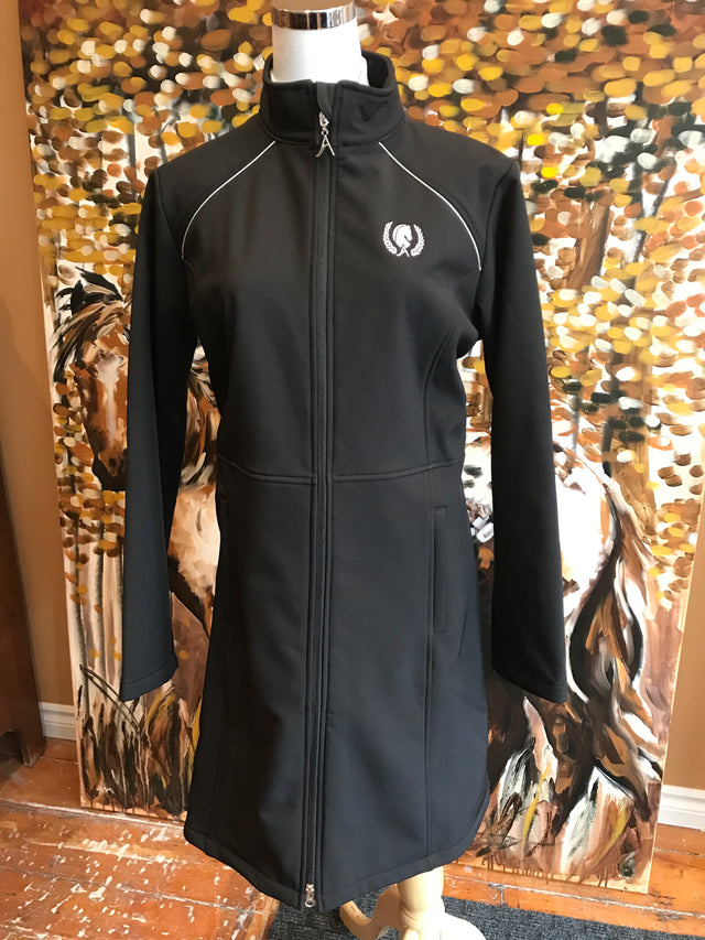 Arista Equestrian Long Weatherproof Softshell Jacket. Shop online for equestrian and riding gear at Red Scarf Equestrian Canada.