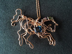 A Horse Cavorting Pendant on Chain by Kate Esplen