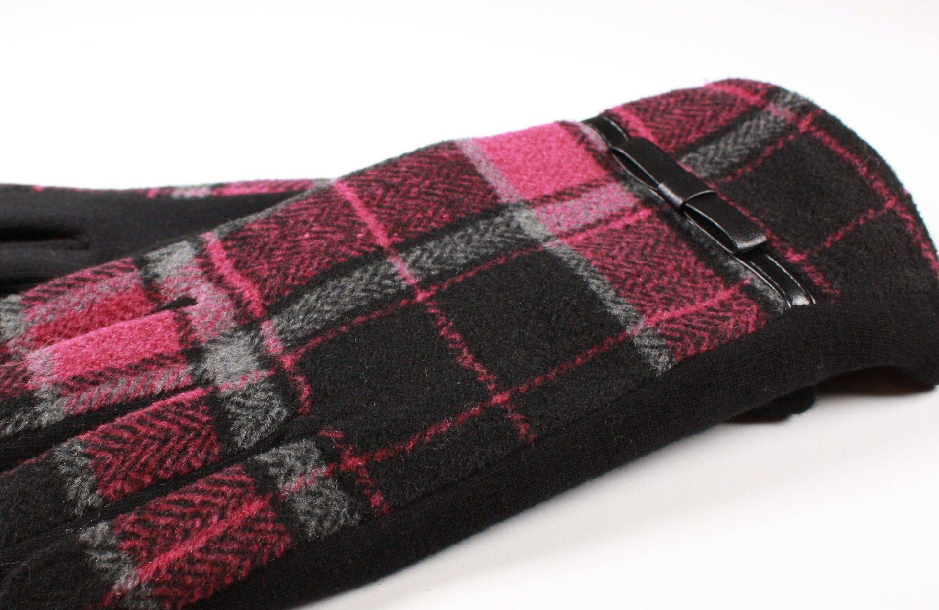 Womens Winter Touchscreen Gloves Fuchsia Tartan Plaid - Red Scarf Equestrian