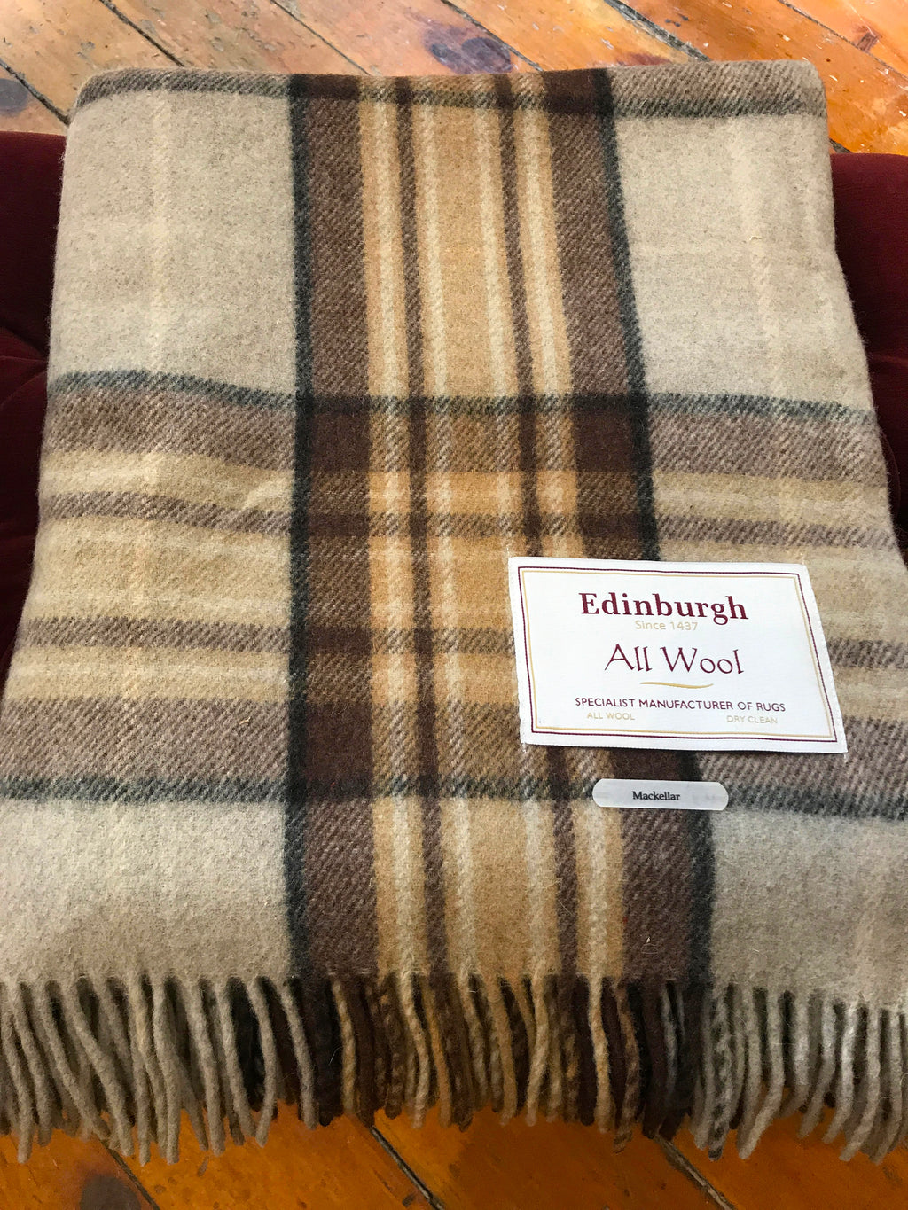 Tartan Wool Blanket in MacKellar Natural. Woven in the UK. Buy online at Red Scarf Equestrian Canada