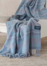 Load image into Gallery viewer, Lambswool Knee Blanket in Misty Pink Tartan Check