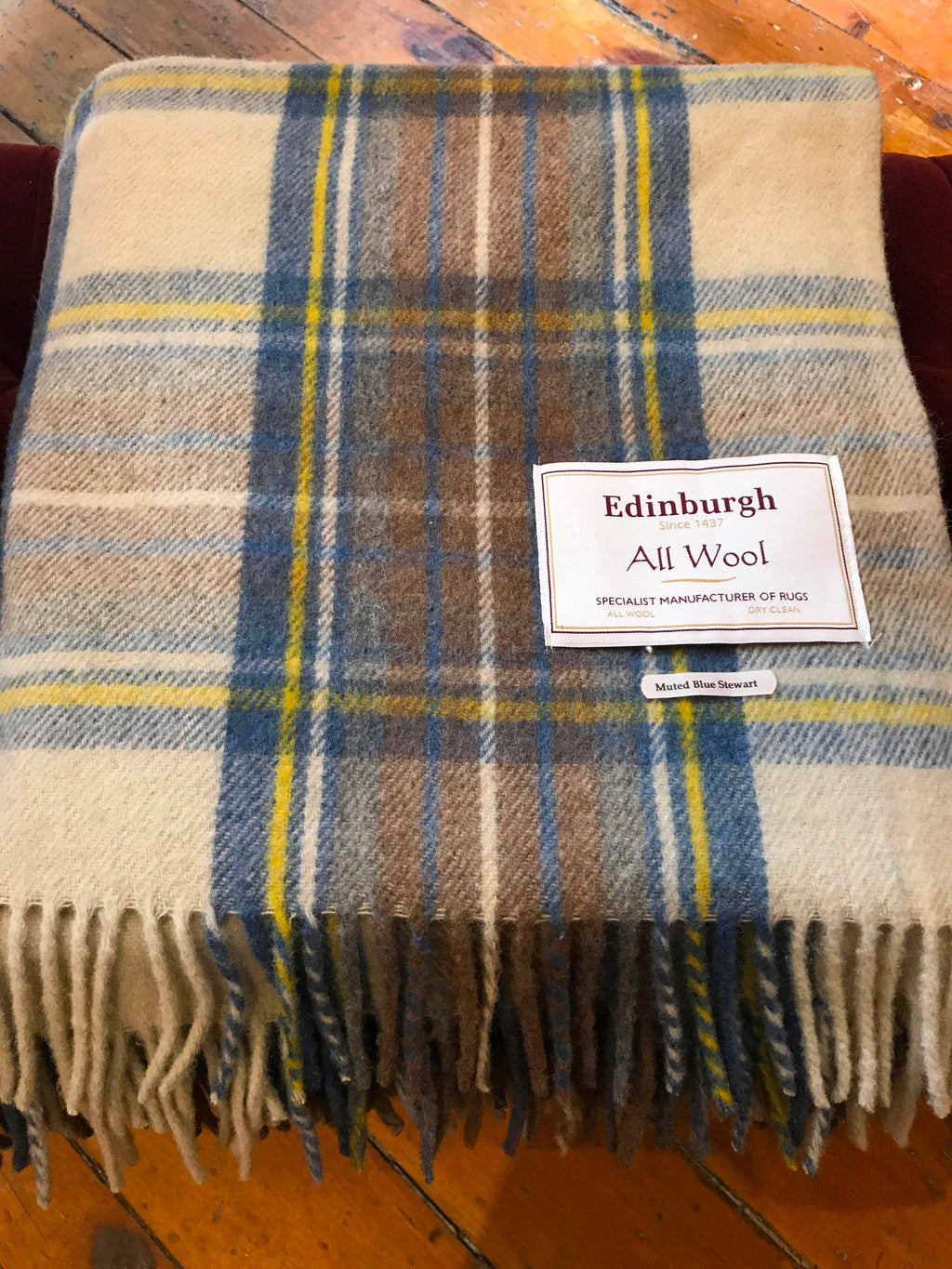 Scottish Tartan Wool Blanket in Muted Blue Stewart. Woven in the UK. Buy online at Red Scarf Equestrian Canada