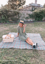 Load image into Gallery viewer, Recycled Wool Waterproof Picnic Blanket in Assorted Colours and Tartans and Leather Carrying Strap Set