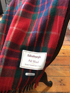 Scottish Tartan Wool Blanket in Red Fraser. Woven in the UK. Buy online at Red Scarf Equestrian Canada