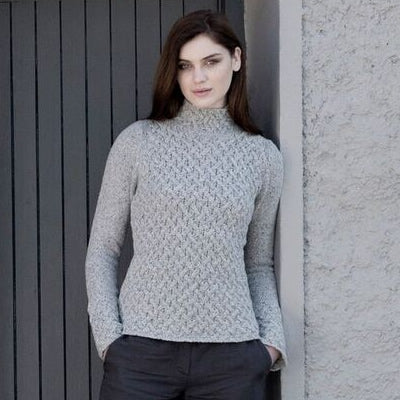 Trellis Irish Knit Sweater - Light Grey