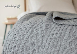 Luxe Aran Cashmere Throw – Duck Egg