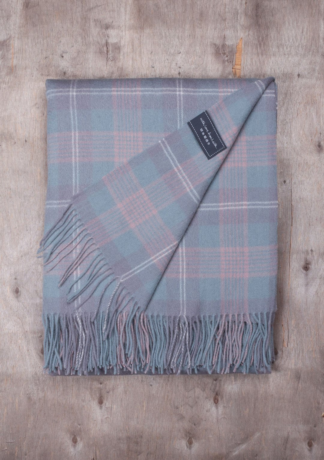 Lambswool Knee Blanket in Misty Pink Tartan Check