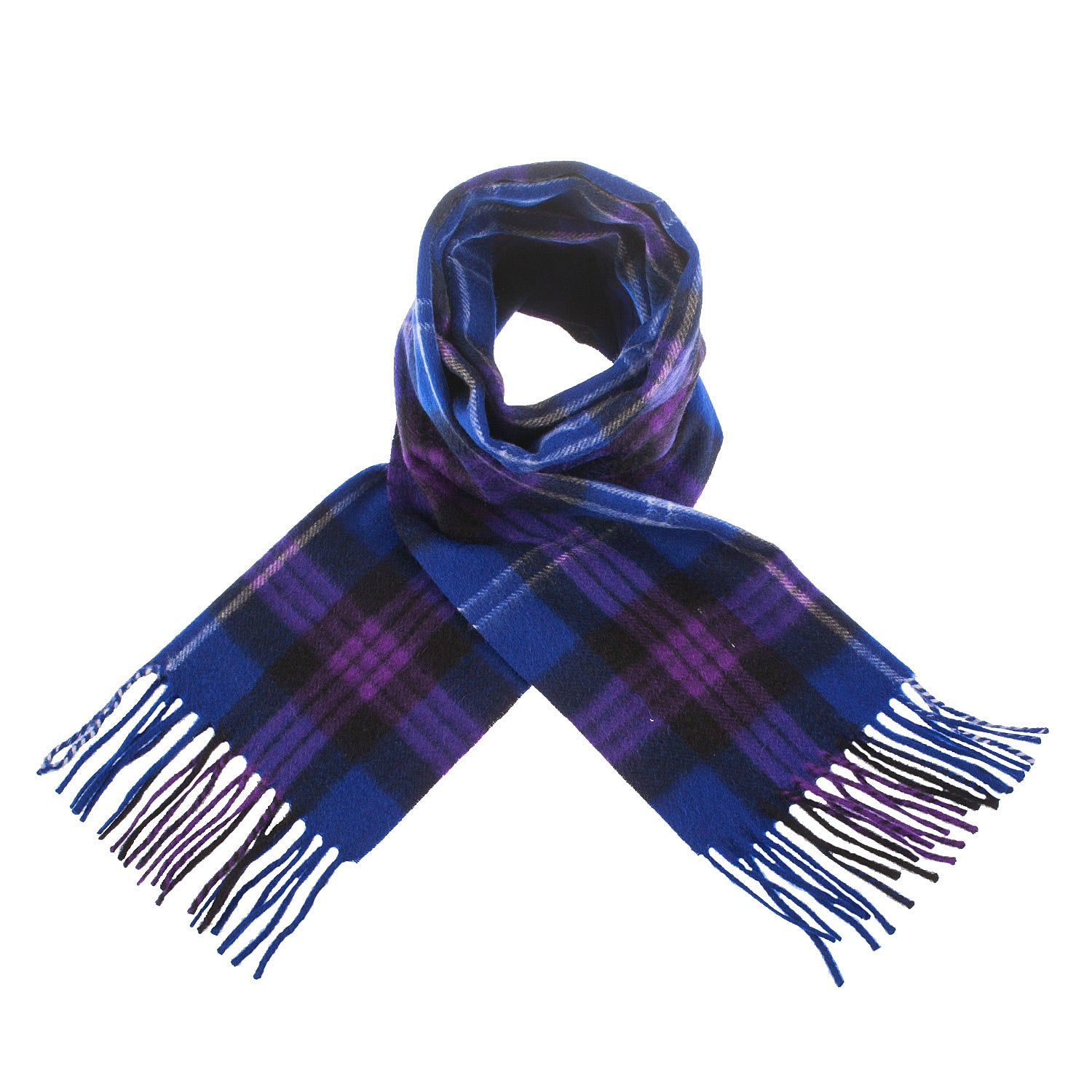 Tartan Lambswool Winter Scarf for Women Heritage of Scotland Blues Purples Buy in Canada at Red Scarf Equestrian