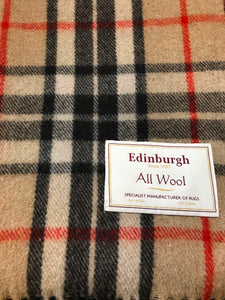 Tartan Wool Blanket in Thomson Camel. Woven in the UK. Buy online at Red Scarf Equestrian Canada