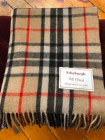 Load image into Gallery viewer, Tartan Wool Blanket in Thomson Camel. Woven in the UK. Buy online at Red Scarf Equestrian Canada