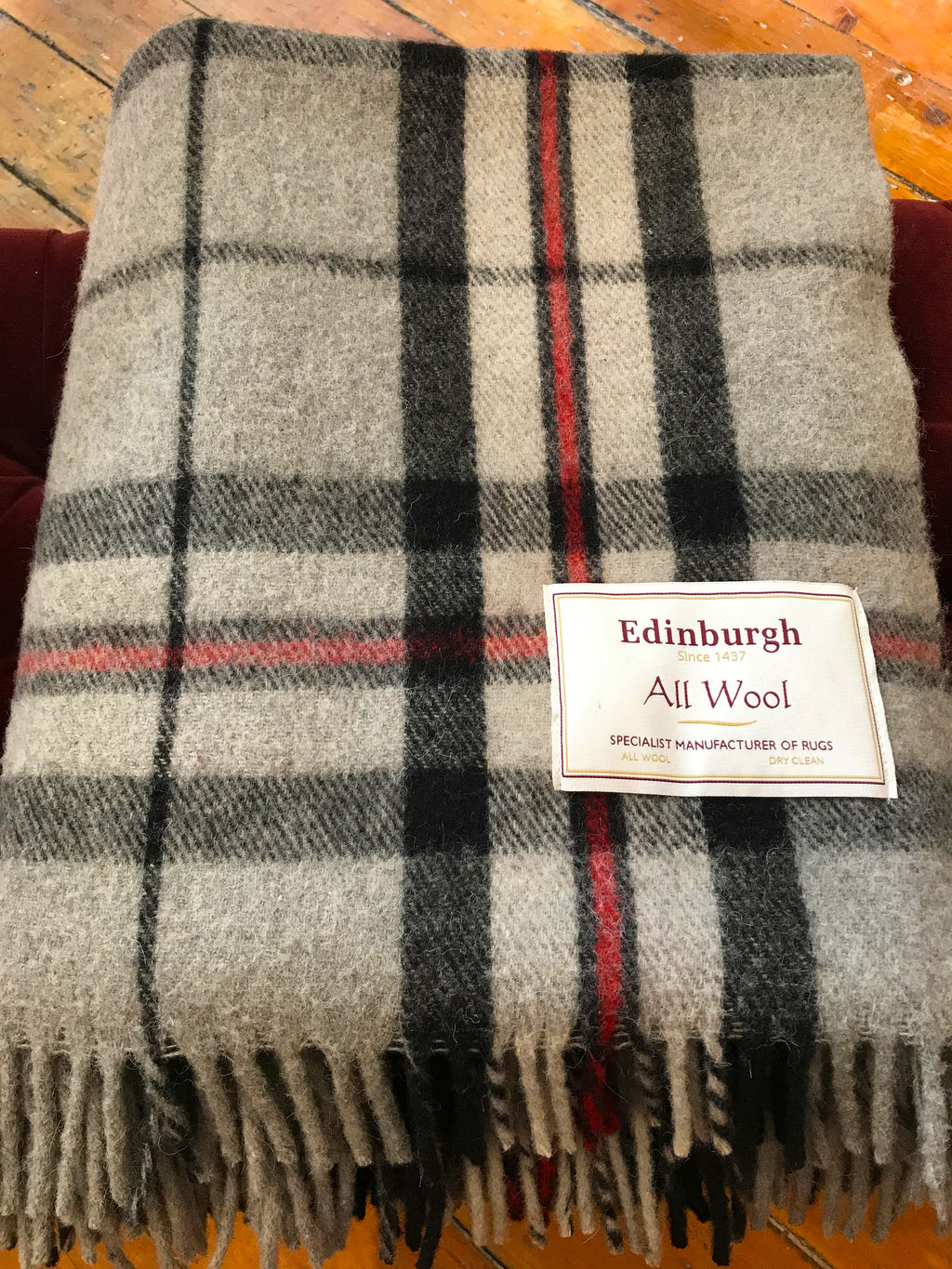 Scottish Tartan Wool Blanket in Thomson Grey. Woven in the UK. Buy online at Red Scarf Equestrian Canada