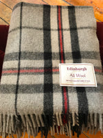 Load image into Gallery viewer, Scottish Tartan Wool Blanket in Thomson Grey. Woven in the UK. Buy online at Red Scarf Equestrian Canada
