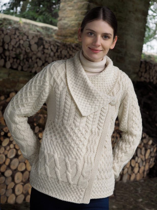 85e3b60a61 Irish Aran Wool Sweaters for Women made in Ireland  Patchwork One Button  Cardigan made from