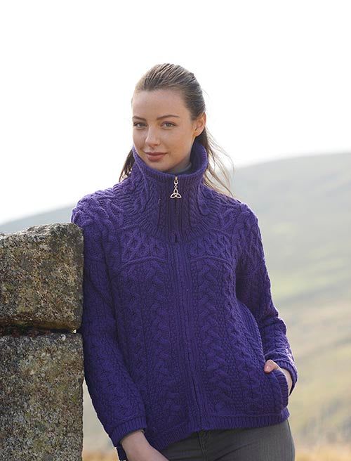 Irish Aran Wool Sweaters for Women made in Ireland:  Double Collar Zipper Cardigan made from Merino Wool in Ireland. Buy online at Red Scarf Equestrian Canada