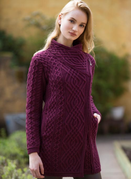 Aran Wool Sweaters for Women:  Long Side Zip Coat made from Merino Wool in Ireland. Buy online at Red Scarf Equestrian Canada
