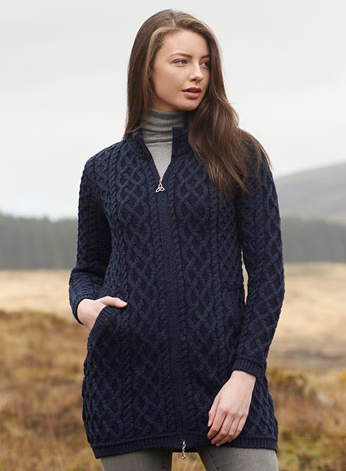 Aran Wool Sweaters for Women: Long Plated Zip Coat made from Merino Wool in Ireland. Buy online at Red Scarf Equestrian Canada
