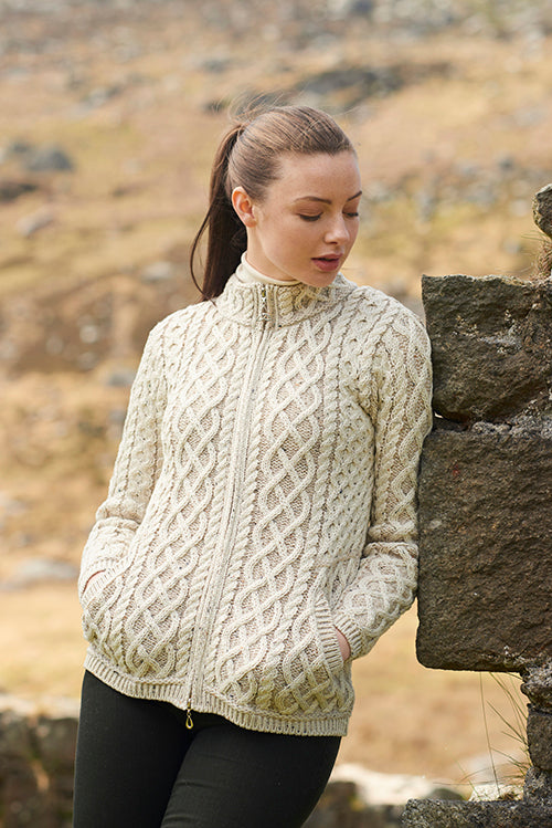 Irish Aran Wool Sweaters for Women made in Ireland:  Short Plated Zip Cardigan made from Merino Wool in Ireland. Buy online at Red Scarf Equestrian Canada