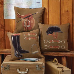 English Equestrian Gear Tapestry Pillows - Riding Boots