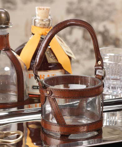 Leather And Glass Jar With Stirrup Handle