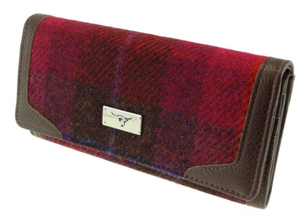 Harris Tweed Burgandy Bute Wallet