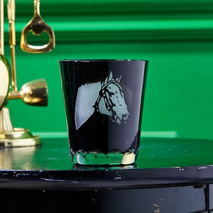 Thoroughbred Old Fashioned Black-Etched Glass