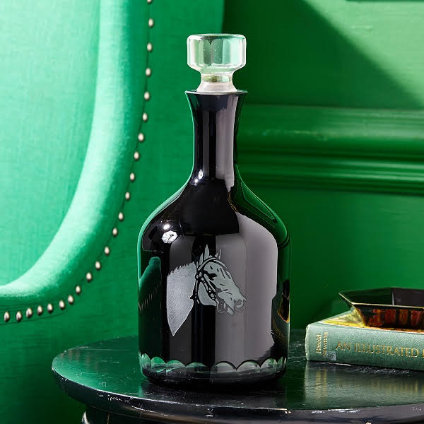Thoroughbred Old Fashioned Black Etched Glass Decanter