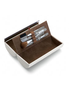 White Leather Make up Travel Box