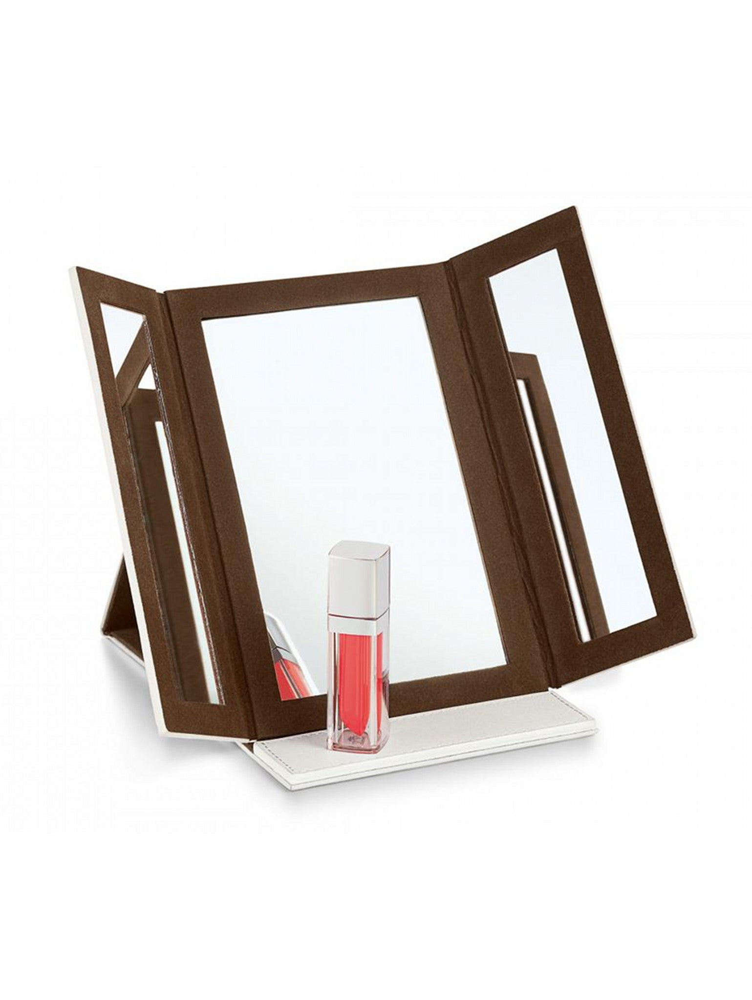 White Leather Folding Make-up Mirror