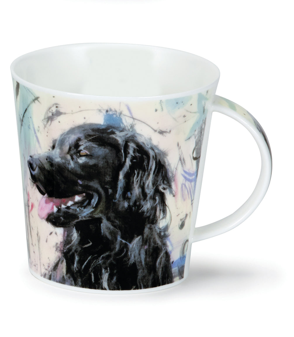 Dunoon Mugs - Cairngorm Dogs on Canvas: Black Flat Coat Retriever