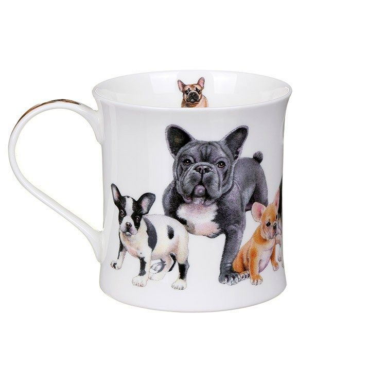 Buy Dunoon Mugs in Canada Designer Dogs French Bulldogs Fine Bone China Made in England Tea Coffee Red Scarf Equestrian