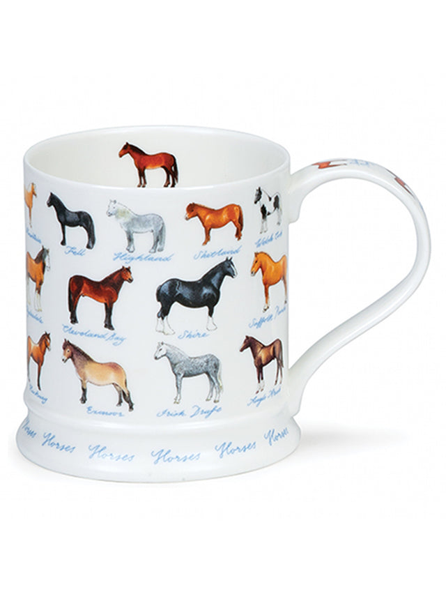Buy Dunoon Mugs in Canada Iona Farm Life Horses Fine Bone China Handmade in England Tea Coffee Red Scarf Equestrian