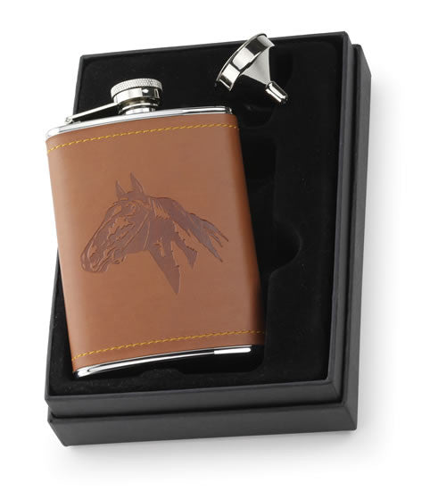 Embossed Faux Leather Horse Flask