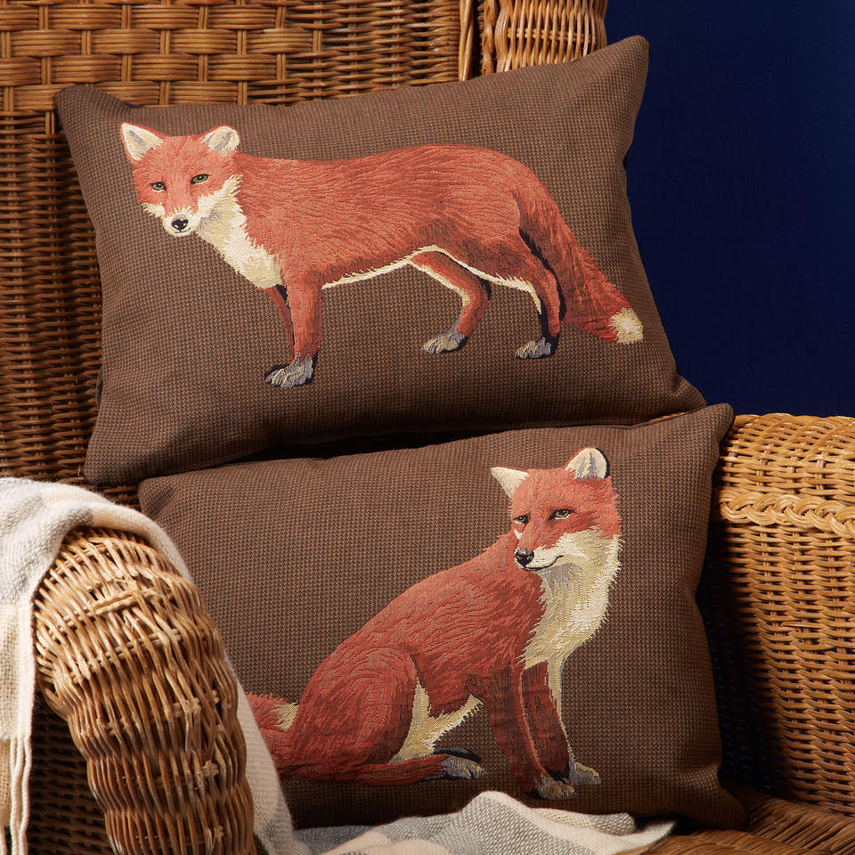 Lying and Sitting Fox Cushions