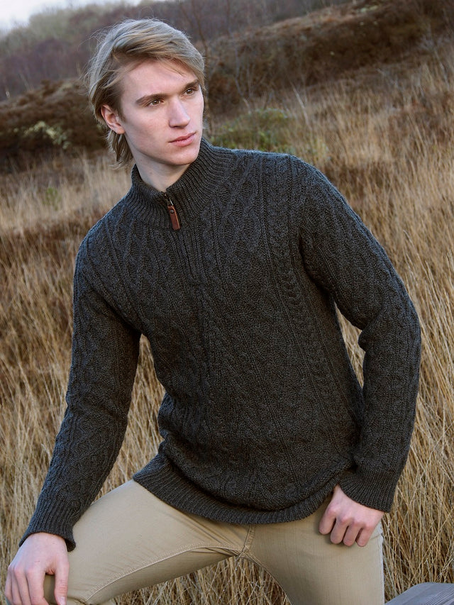 Merino Wool Half Zip Aran Sweater