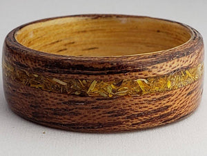 Flower Inlay Wooden Ring (Calendula)