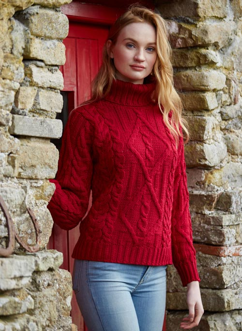Irish Aran Wool Sweaters for Women made in Ireland: Traditional Turtleneck Sweater made from Merino Wool in Ireland. Buy online at Red Scarf Equestrian Canada