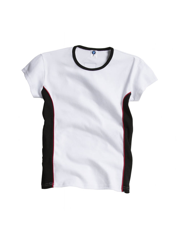 Ladies White / Black / Red Tee