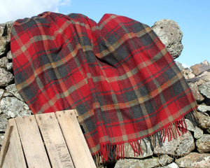 Tartan Wool Blanket in Canadian Maple. Woven in the UK. Buy Online at Red Scarf Equestrian Canada