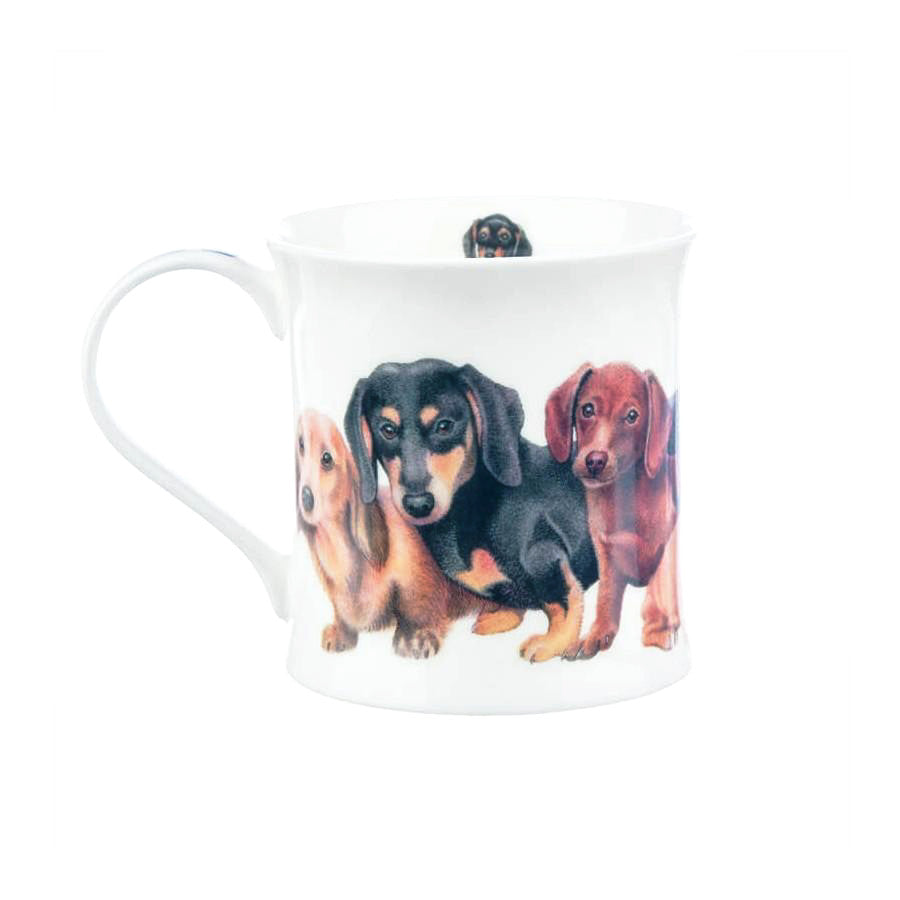 Buy Dunoon Mug in Canada Wessex Designer Dogs Dachshunds Fine Bone China Made in England Tea Coffee Red Scarf Equestrian