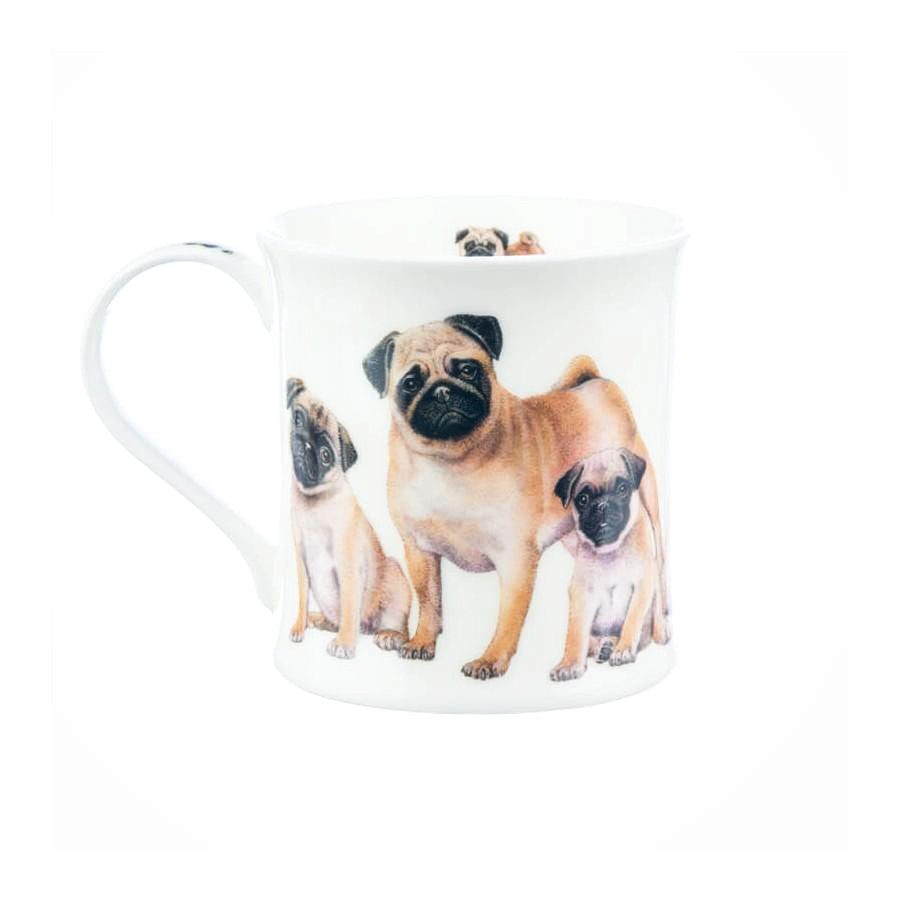 Buy Dunoon Mugs in Canada Wessex Designer Dogs Pugs Fine Bone China Made in England Tea Coffee Red Scarf Equestrian