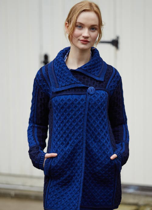 Irish Aran Wool Sweaters for Women made in Ireland: Two-Toned Single Button Plated Coat Sweater made from Merino Wool in Ireland. Buy online at Red Scarf Equestrian Canada